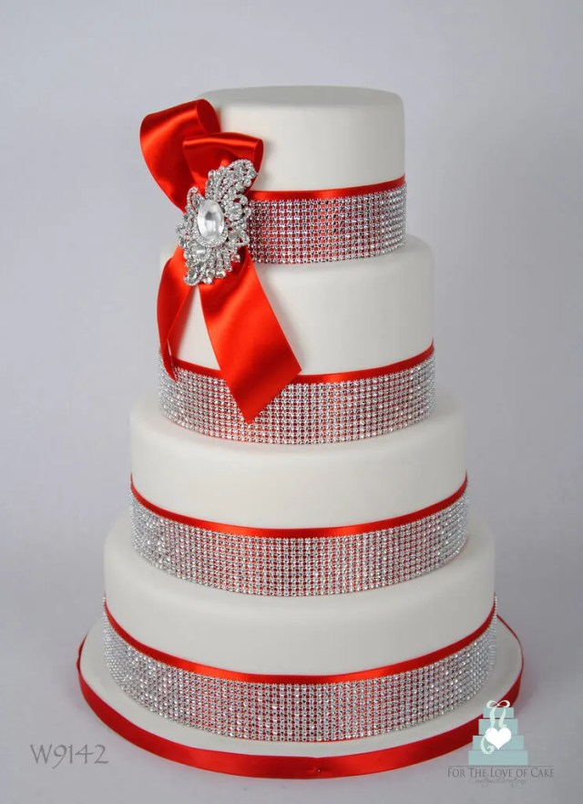 Red and white wedding cake with crystals