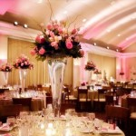 Tall Wedding Centerpieces – Pink and Ivory Roses