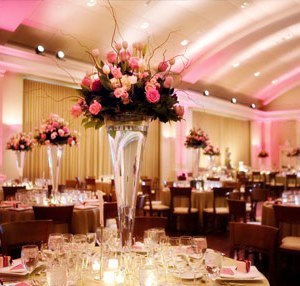 Tall Wedding Centerpieces - Pink and Ivory Roses