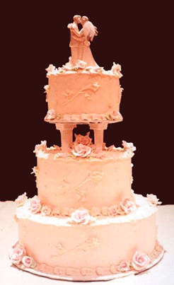 Picture Of A Traidional White Three Tier Wedding Cake