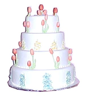 Picture of Tulip wedding cake with four tiers