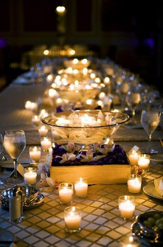 Wedding Centerpiece With  votives anf floating candles