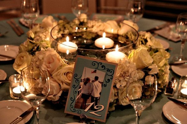 Wedding Centerpieces - Floral Wreath and Floating Candles