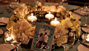 Floral Wreath Wedding Centerpieces With Floating Candles