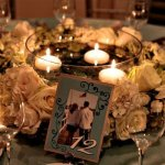 Wedding Centerpieces – Floral Wreath and Floating Candles