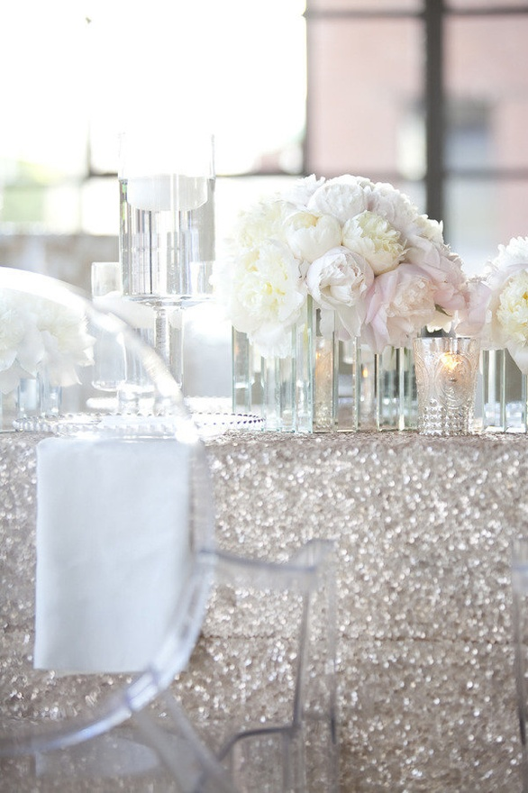 Wedding Table Decor - Sequined Table Covers