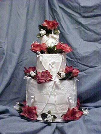 Make a towel cake for a bridal shower