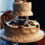 White Wedding Cakes – Two Tier with Gum Paste Flowers