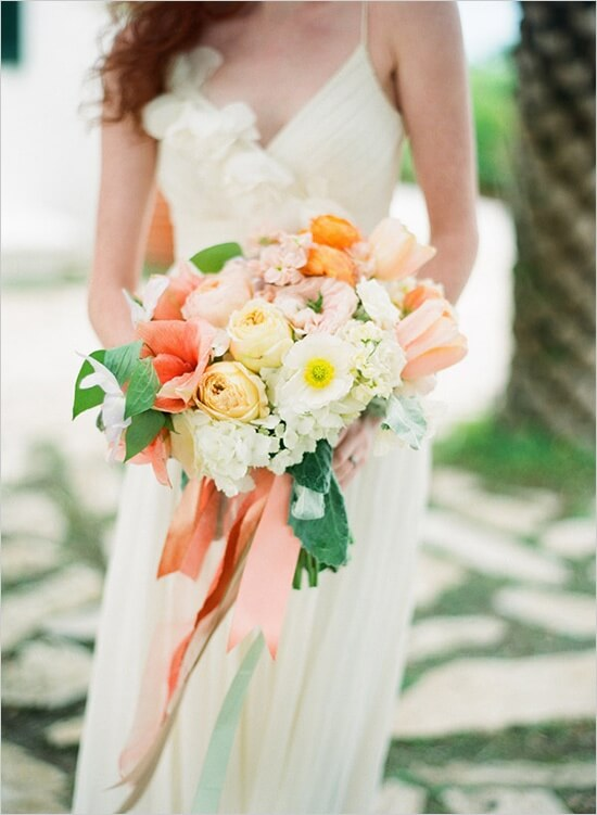 Summer Wedding Bouquets Peach And Ivory