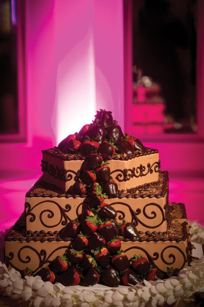 Chocolate Wedding Cake With Dipped Strawberries