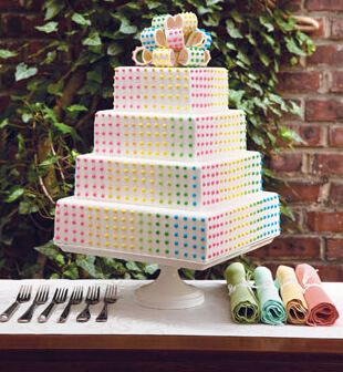 Multicolored Dot Wedding Cake