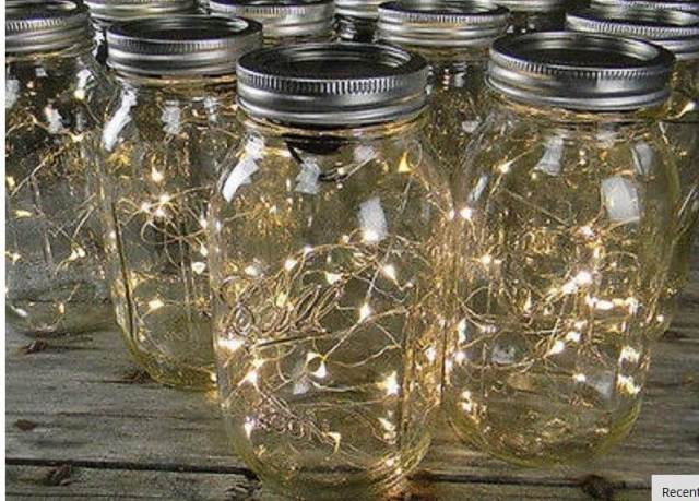 Lighted mason jar centerpieces.