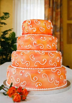 Orange wedding cake, four tier