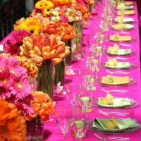 Pink, Orange and Yellow Wedding Tables