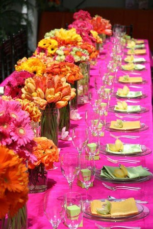 Pink, Orange and Gold Wedding Tables and Colors