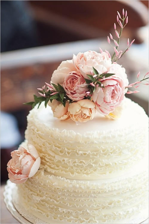 Ruffled Wedding Cake with Peony Accent