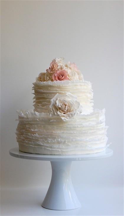 Ruffle Wedding Cake in White