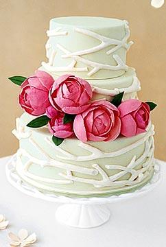 Spring Wedding Cakes With Peony Flowers