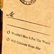 New and unique idea for wedding RSVP cards