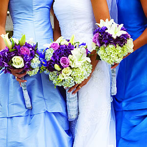 Purple and Pink Wedding bouquets with hand tied stems