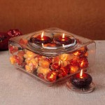 Wedding Centerpieces – Fall, Square Bowl & Candles