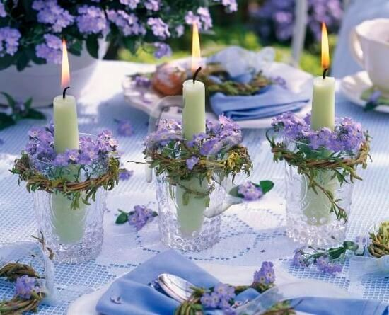 Lilac and Candles Wedding Table Decor Idea