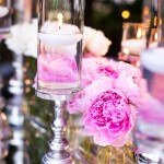 Pink Peony and Floating Candle Centerpiece