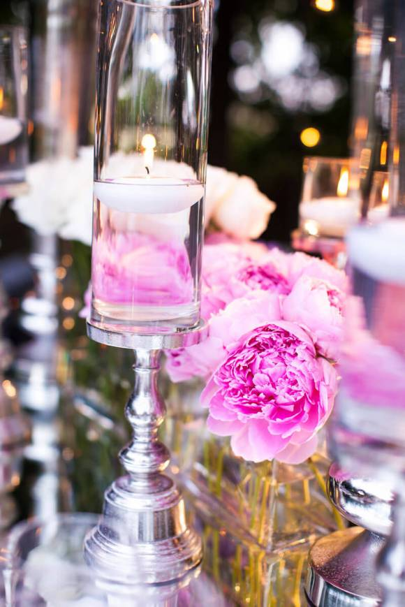 Pink Peonies and White Floating Candle Centerpiece