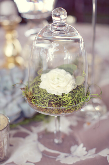 Simple Rose and Moss Centerpiece in VIntage Glassware