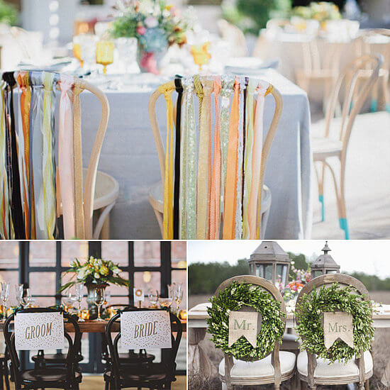 Decor ideas for the backs of the bride and groom's chairs at the reception