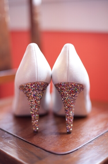 White bridal shoes with gold glitter shoes - diy