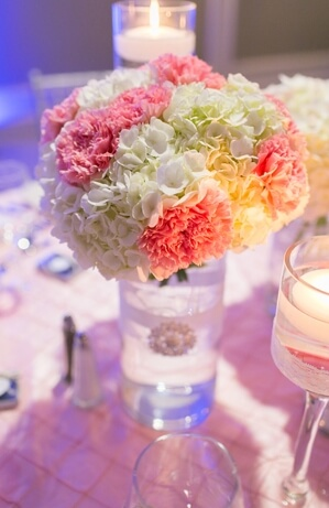 Carnations Wedding Centerpiece in Vase