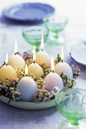 Easter Wedding Centerpiece featuring egg candles