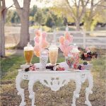Vintage Candy Buffet With Cotton Candy Wedding Favors