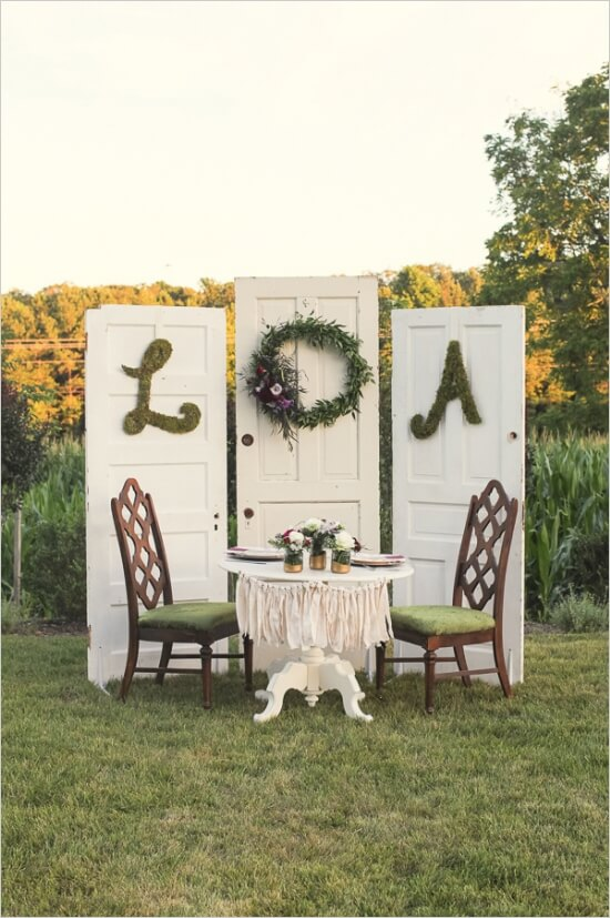Shabby Chic Wedding Sweetheart Table at Vintage Outdoor Wedding.