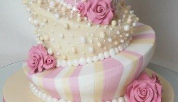 Small Wedding Cake Pink - Pastel Pink Wedding Cake