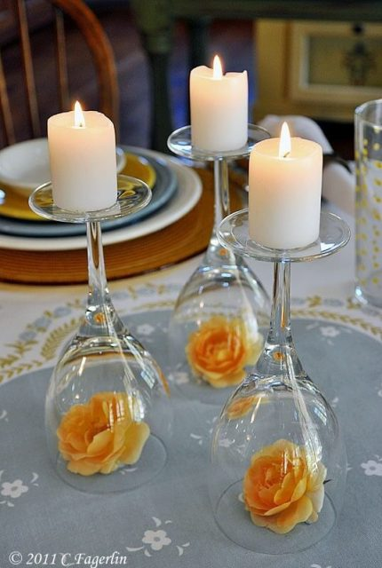 Upside down wine glass wedding centerpiece.