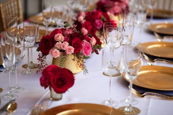 Burgandy and Gold Wedding Table Setting