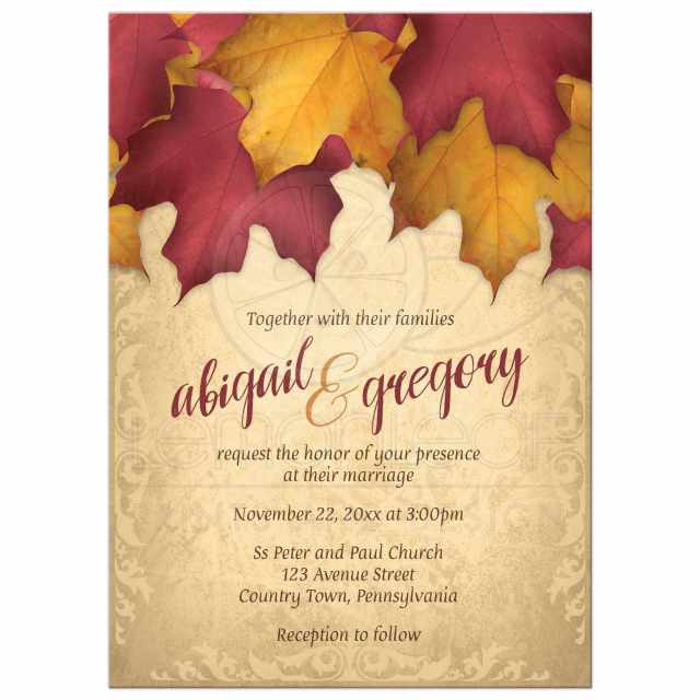 Burgundy and gold fall wedding invitation idea.
