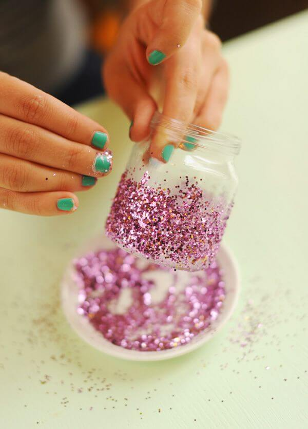 DIY Glitter votive jar candle holder