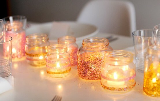 Glittered Jars Candle Holders