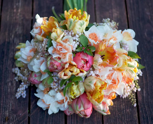 Tulips And Daffodils Spring Wedding Bouquet