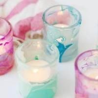 DIY Marblized Wedding Votive Candle Holders