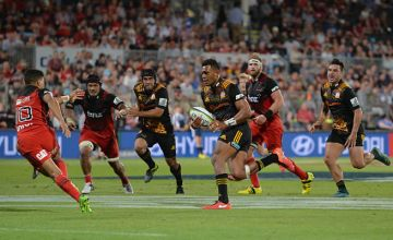 Seta Tamanivalu of the Chiefs in action against the Crusaders