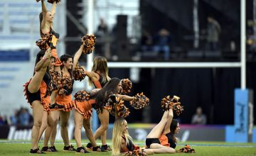 Jaguares' cheerleaders perform before the start of last week's Super Rugby match
