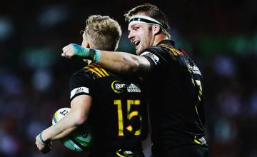 Damien McKenze and Sam Cane chat after beating the Force