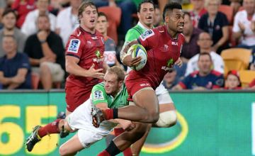 Samu Kerevi on the attack for the Reds.