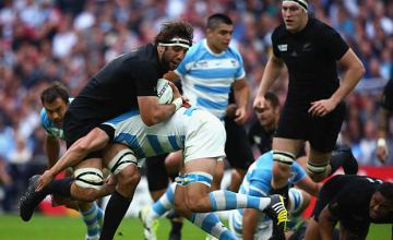 Sam Whitelock on the charge for the All Blacks in the World Cup