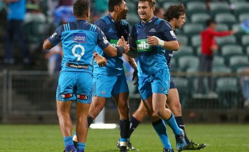 Augustine Pulu of the Blues celebrates his try