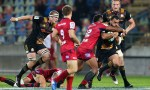 Charlie Ngatai of the Chiefs is tackled by Samu Kerevi of the Reds during the round 11 Super Rugby match